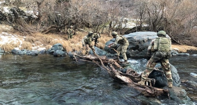 Mehmetçik, sudan geçemeyen köpeği omuzlarında nehrin karşısına taşıdı