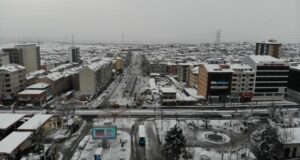 Sultangazi'de kar manzaraları havadan görüntülendi