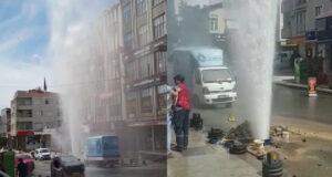 Ataşehir'de çalışma yapılırken su borusu patladı; su apartmanın yüksekliğine ulaştı