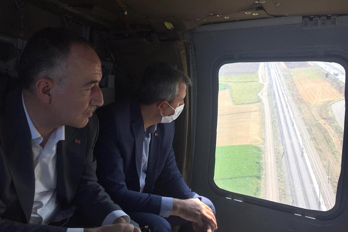 43 ilin geçiş noktası helikopterle havadan denetlendi