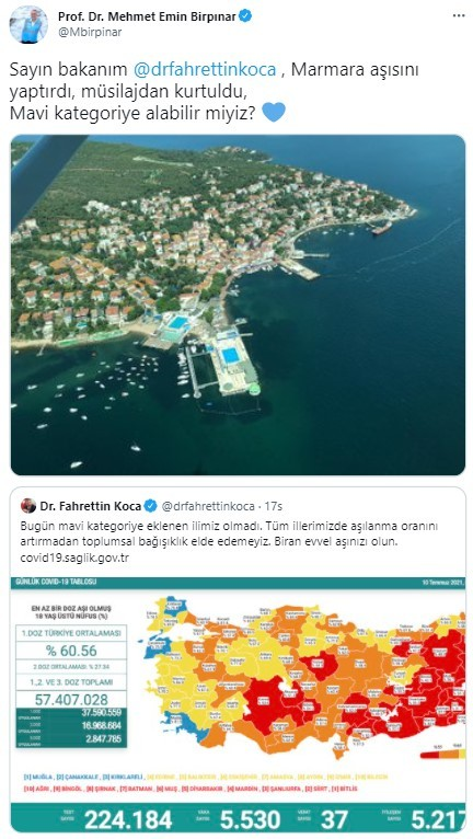Bakan Koca: 'Marmara denizi aslına döndü, sizleri kutluyoruz'